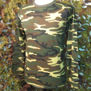 T-Shirt Camouflage Woodland manica lunga Maglia manica lunga Mimetismo Woodland Mil-Tec 100% Cotone Jersey Girocollo Manica Lunga